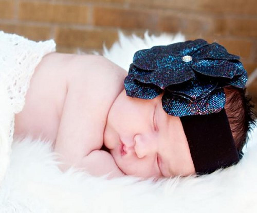 Black Soft Headband with Sequins Black Rose