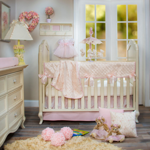 Cottage Rose Collection 4 Piece Crib Bedding Set