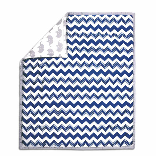 Chevron Cotton Quilt in Navy and Grey