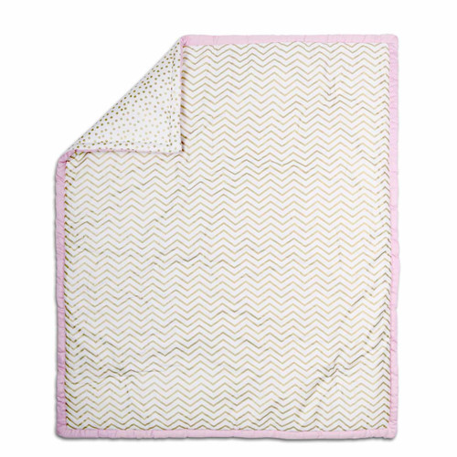 Chevron Cotton Quilt in Pink and Gold