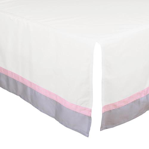 Pink and Grey Crib Dust Ruffle