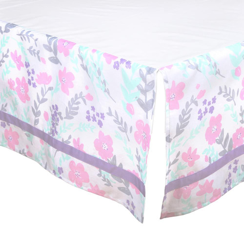Pink and Purple Floral Crib Dust Ruffle