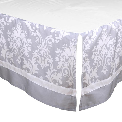 Grey Damask Crib Dust Ruffle