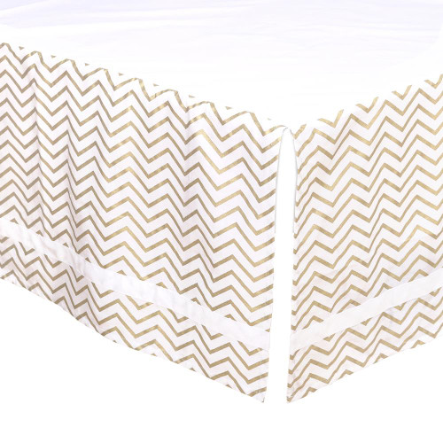 Gold Chevron Crib Dust Ruffle