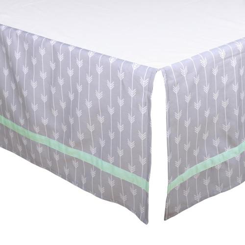 Grey and Mint Arrows Crib Dust Ruffle