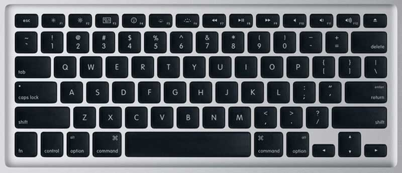 Apple unibody macbook pro laptop keyboard keys