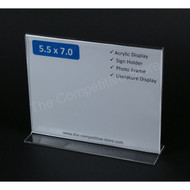 "Sign Holder 5-1/2"" H X 7"" W Acrylic Bottom Loading Signholder - Perfect Display"