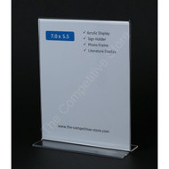 "Sign Holder 7""H X 5-1/2""W Acrylic Bottom Signholder - Vertical Sign Holder"