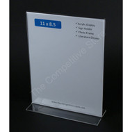 "Sign Holder 11""H X 8-1/2""W Acrylic Bottom Vertical Signholder - Perfect Display"