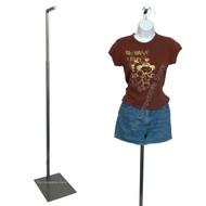 "Adjustable Floor Stand 49"" - 78"" Brushed Metal For Hanging Forms Or Mannequins"