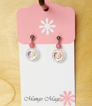 Pink Iridescent Flower Earrings