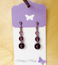 Purple Quad Drop Glass Earrings