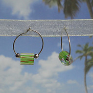 Sterling Silver Lime Green Glass Cane Bead Hoops