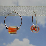 Sterling Silver Orange Glass Cane Bead Hoops