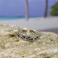 Sterling Silver Antiqued Swirl Toe Ring