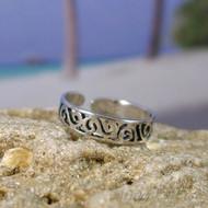 Sterling Silver Cut Filligree Toe Ring
