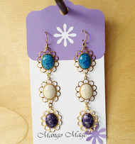 Triple Dangle Fossil Stone Earrings - Blue/Cream/Purple