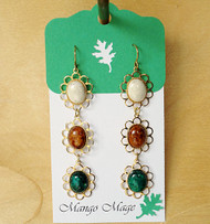 Triple Dangle Fossil Stone Earrings - Cream/Brown/Green