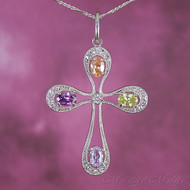 Multi-Colored CZ Cross Sterling Silver Pendant
