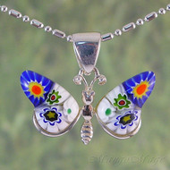 Millefiori Butterfly Sterling Silver Pendant - Style #2