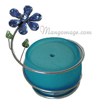 Blue Crystal Flower Glass Incense Burner