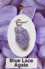 Blue Lace Agate Sterling Silver Wire-Wrapped Stone Pendant