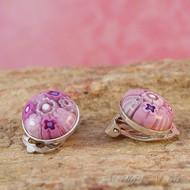 Pink Millefiori Clip-on Earrings