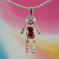 January Boy Sterling Silver C.Z. Birthstone Kids Pendant