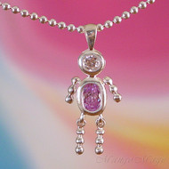 June Boy Sterling Silver C.Z. Birthstone Kids Pendant