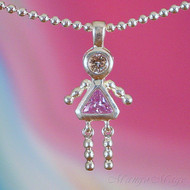 June Girl Sterling Silver C.Z. Birthstone Kids Pendant