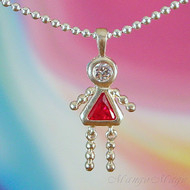 July Girl Sterling Silver C.Z. Birthstone Kids Pendant