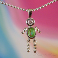 August Boy Sterling Silver C.Z. Birthstone Kids Pendant