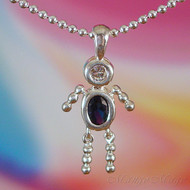 September Boy Sterling Silver C.Z. Birthstone Kids Pendant
