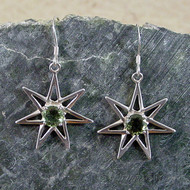 Moldavite Pleiadean Star Sterling Silver Earrings