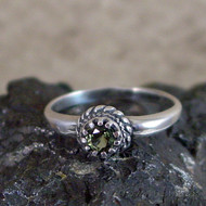 Moldavite Faceted Sterling Silver Ring - Size 6