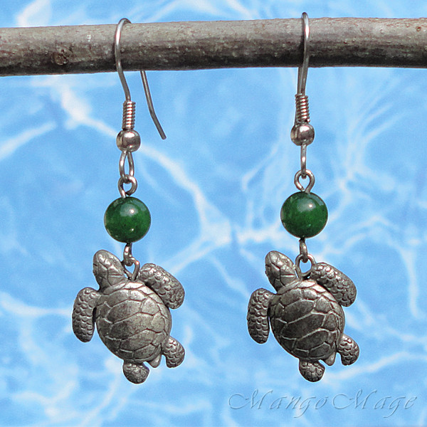 Green Jade Turtle Earrings Mango Mage