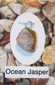 Ocean Jasper Sterling Silver Wire-Wrapped Stone Pendant