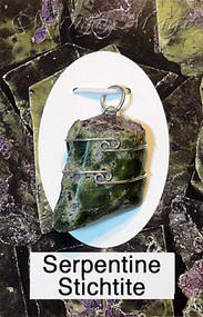 Serpentine Stichtite Sterling Silver Wire-Wrapped Stone Pendant
