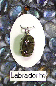 Labradorite Sterling Silver Wire-Wrapped Stone Pendant