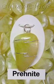 Prehnite Sterling Silver Wire-Wrapped Stone Pendant
