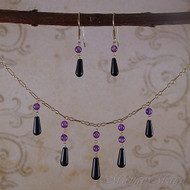 Amethyst & Onyx 12 KT Gold-filled jewelry set