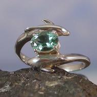 Siberian Green Quartz Sterling Silver Dolphin Ring - Size 7