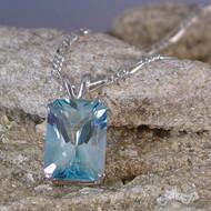 Aqua Aura Quartz Sterling Silver Pendant