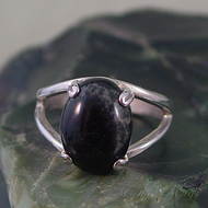 Nebula Stone Sterling Silver Ring - Size 7