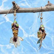 Purple Cloisonné Wiggle Fish Earrings
