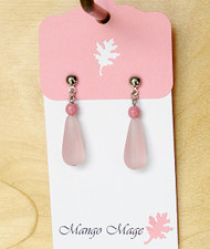 Pink Frosted Drop Glass Earrings