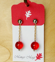 Red Ball Drop Earrings