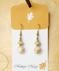 Tan & Cream Glass Dangle Earrings