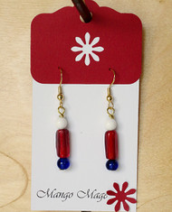 Red, White & Blue Glass Earrings