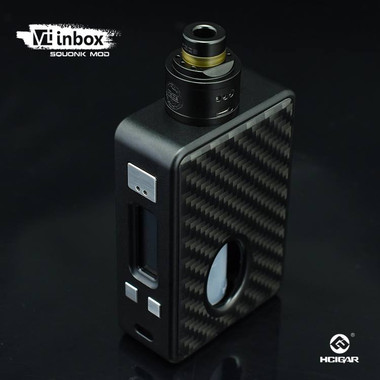 "HCigar - ""VT Inbox DNA75, Black Frame, Black Carbon Fiber Panel"". Shown with atomizer attached for reference only. Sale does NOT include an atomizer."